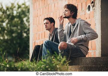 cannabis, déprimé, jeune, triste, jointure, fumer, ami, homme