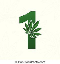 cannabis, design., blatt, brief, logo