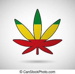 cannabis, drapeau, feuille, rasta
