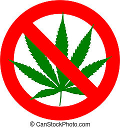 Cannabis - No cannabis sign isolated over white background