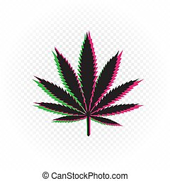 cannabis drug sign in colored glitch shape