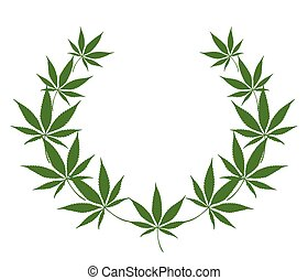 cannabis .eps - abstract wreath of leaves cannabis