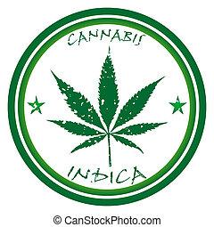 cannabis, estampilla, contra, blanco