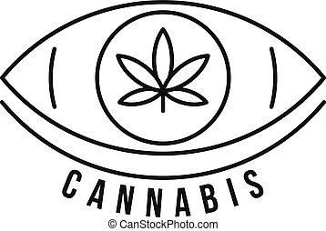 cannabis, estilo, ojo, contorno, logotipo