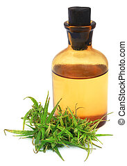 Cannabis extract with leaves