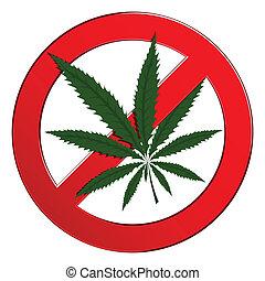 cannabis, förbjudet, cirkel, drog, underteckna