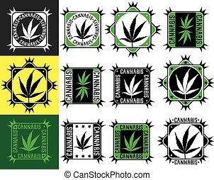 cannabis, folha cânhamo, marijuana, selos