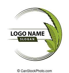cannabis, folha verde, logo.