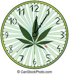 cannabis, grün, uhr