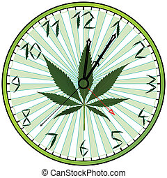 cannabis green clock against white background, abstract ...
