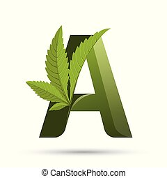 cannabis green leaf logo letter A