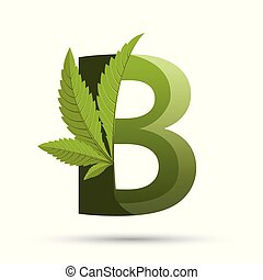 cannabis green leaf logo letter B