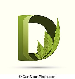 cannabis green leaf logo letter D