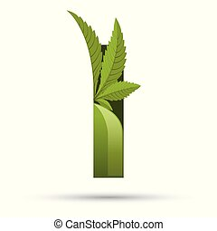 cannabis green leaf logo letter I
