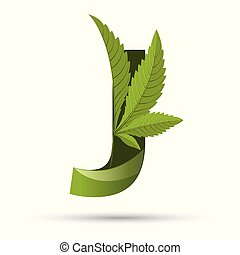 cannabis green leaf logo letter J