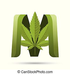 cannabis green leaf logo letter M