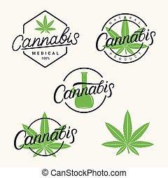 Cannabis hand written lettering logos, labels, emblems, badges set.