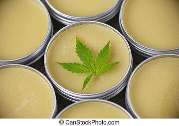 Cannabis hemp cream or salve - marijuana topicals concept