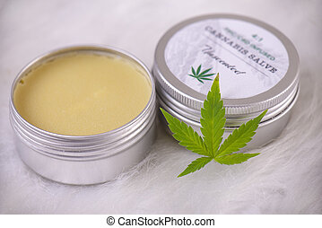 Cannabis hemp creams with marijuana leaf over white background