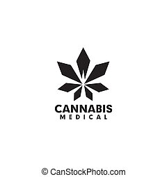 Cannabis hemp leaf logo icon design vector template