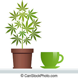 Cannabis herbal tea and marijuana plant. Isolated vector illustration on white background.