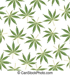 cannabis, hintergrund., marihuana, ganja, unkraut, hanf, blättert, seamless, vektor, pattern.