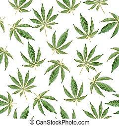 cannabis, hintergrund., vektor, marihuana, seamless, muster