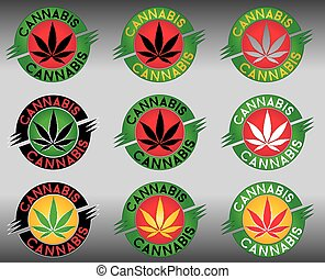 cannabis, hoja del cáñamo, marijuana, sellos