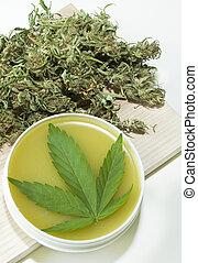 Cannabis home made healing ointment and marijuana green leaf...