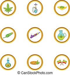 Cannabis icon set, cartoon style