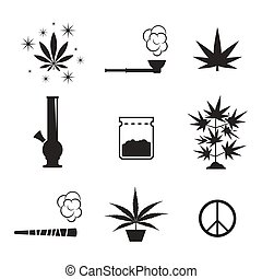 Cannabis icons set