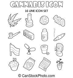 Cannabis icons set, cartoon style