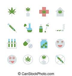 Cannabis in flat icon set design. Vector illustration