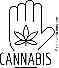 Cannabis in palm logo, outline style