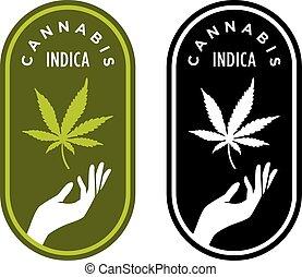 Cannabis Indica vector logo or badge. - Elegant marijuana ...
