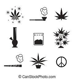 cannabis, jogo, ícones