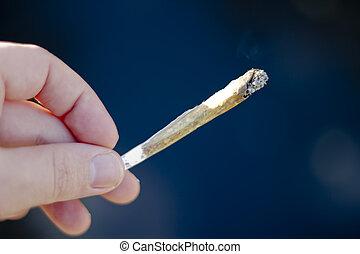 cannabis, -, jointure, fumer, mauvaise herbe