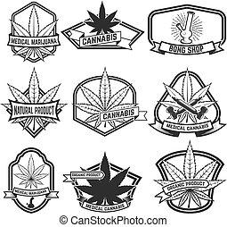 Cannabis labels. Medical marijuana. Design elements for logo, la