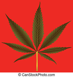 cannabis leaf against orange background, abstract art illustration