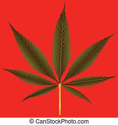 cannabis leaf against orange background