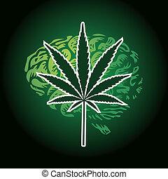 cannabis leaf and human brain background - illustration