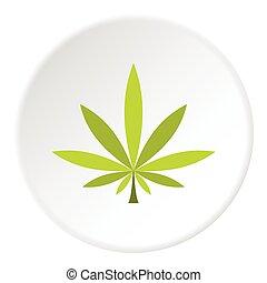 Cannabis leaf icon, flat style