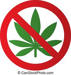 Cannabis leaf icon in prohibition red circle. No Marijuana, no drugs. Forbidden sign.