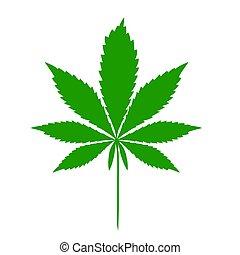 Cannabis leaf illustration. Vector. Dark green icon on white background.