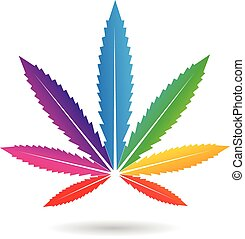 Cannabis Leaf in Rainbow Colors - Vector Illustration of a...