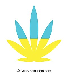 cannabis leaf is yellow-blue in color