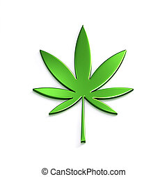 Cannabis Leaf Isolated on White Background. 3D Render ...
