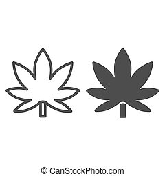 Cannabis leaf line and solid icon, Smoking concept, weed sign on white background, leaf of marijuana icon in outline style for mobile concept and web design. Vector graphics.