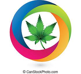 Cannabis leaf logo icon vector design