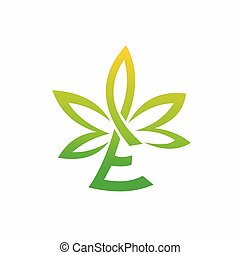cannabis leaf logo that formed letter E
